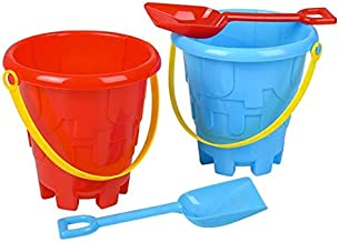 "Srenta Beach Sand Pail & Shovel Set | Kids 6"" Castle Building Plastic Playset 