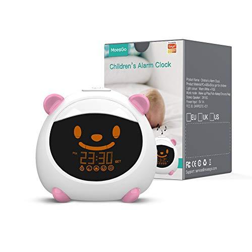 MoesGo Kinderwecker und intelligenter Schlaflerntrainer mit Nachtlicht, Tönen und Gesicht, kompatibel mit Alexa und Google Home (Rosa)