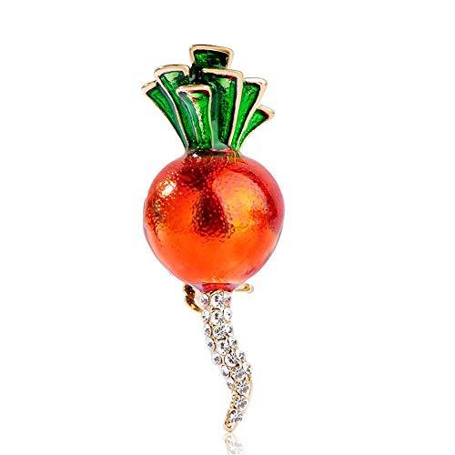 KXBY Harajuku Radijs Vorm Broche Emaille Paarse Plant Pak Lapel Pins Kristal Konijn Voedsel Geschenk voor Jurk Vrouwen BroochesWomen's Broches Dames Pinnen