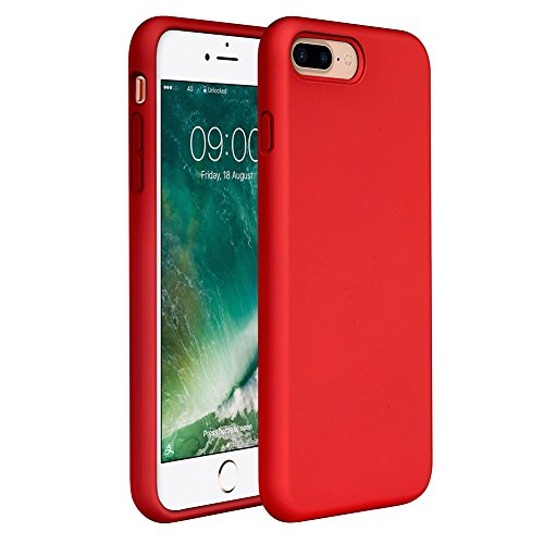 """Miracase iPhone 8 Plus Silicone Case, iPhone 7 Plus Silicone Case Silicone Gel Rubber Full Body Protection Shockproof Cover Case Drop Protection for Apple iPhone 7 Plus/iPhone 8 Plus(5.5"""")-Red"""