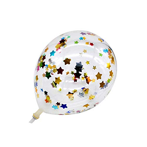 10Pcs 12Inch Glitter Confetti Latexballons Hochzeit Weihnachtsdekoration Babyparty-Geburtstags-Party-Dekor-Air Balloons Globos, bunter Stern, 10Pcs