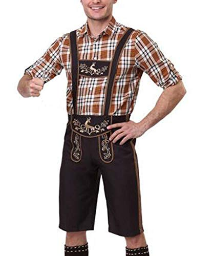 Huateng Costume Bavarois Oktoberfest pour Hommes avec Bretelles Assorties + Chemise + Bonnet 3pcs