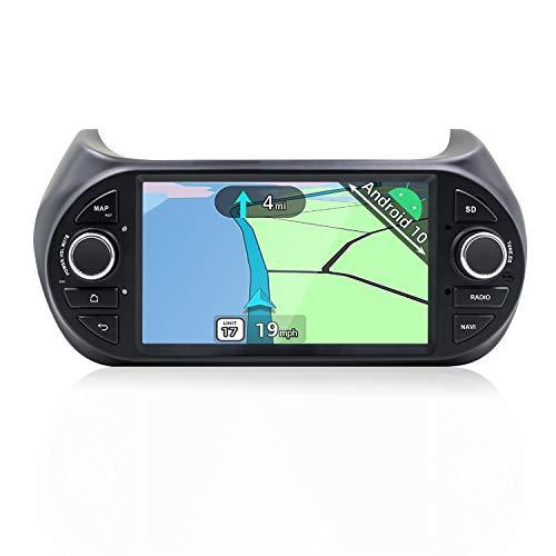 YUNTX Android 10 Autoradio Compatibile con Fiat Fiorino/Qubo/Citroën Nemo/Peugeot Bipper- Doppio din - Telecamera posteriore e MIC gratuiti - Supporto GPS/DAB+ /4G/WiFi/Bluetooth/MirrorLink/Carplay