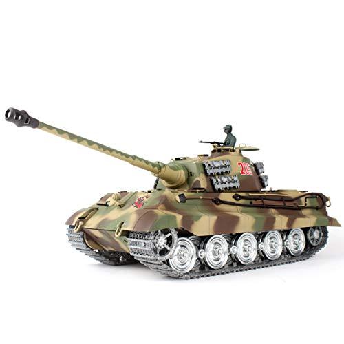 Elroy369Lion 1:16 RC German King Tiger Henschel - Tanque de combate con luz de humo y sonido, función de disparo, metal 2,4G RC tanque eléctrico, modelo de juguete (3888A 7.0 Ultimate Edition)