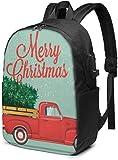 Camioneta Pickup PCYN con árbol de Navidad Mochila para portátil Mochilas de Viaje de Negocios de 17 Pulgadas Mochilas universitarias con Puerto de Carga USB