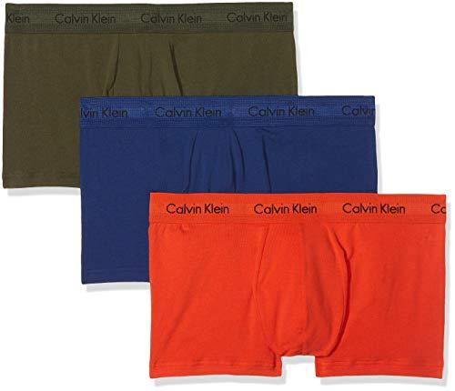 Calvin Klein Herren 3p Low Rise Trunk' Boxershorts, Grün (Forest Night/Dark Night/S Orange Xwn), Small (3er Pack)