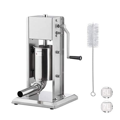 Relaxdays Wurstmaschine 3 Liter, 304 Edelstahl, manuell, 5 Füllrohre, professionelle Gastro Wurstfüllmaschine, silber