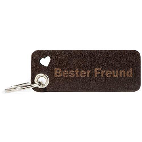 HUNTON Leder Schlüsselanhänger Leder Freund Gravur Freund der Welt Freunde - für Junge/Männer, Persönlich Geschenk/Geschenkidee, Leder Schlüsselanhänger
