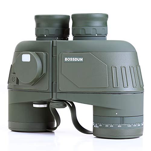 Binocolo Militare Marino per Adulti, Binocolo Impermeabile 10x50 con Telemetro Bussola Telescopica per Navigazione in Barca Osservazione Uccelli Viaggi
