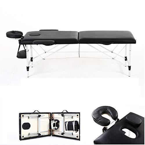 Mobile Massagetisch Massagetisch Massagebank Tragbar mit Tragetasche 2 Zonen Größe 186x62x60-85cm Aluminiumrahmen Robustes faltbares Massageliege Einfache Installation Schwarz bis 230kg belastbar