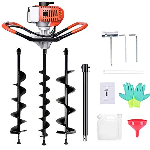 TUOKE Gas Powered Post Hole Digger Earth Auger Drill 62CC 2 Stroke with 3 Auger Bits + Extension Bar for Fence and Planting