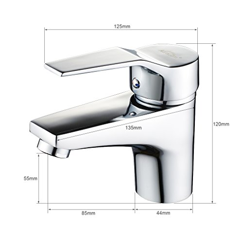 Auralum® Design Einhebel Wasserhahn Armatur Waschtischarmatur Einhandmischer für Badezimmer Waschbecken - 6