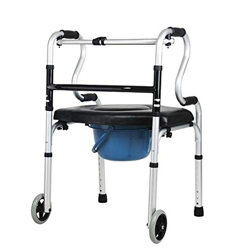 Bastidor para caminar con ruedas Asiento con orinal Almohadilla de soporte Aleación de aluminio gruesa Rehabilitación Auxiliar Andadores estándar Ayuda para la vida diaria para ancianos discapacitados