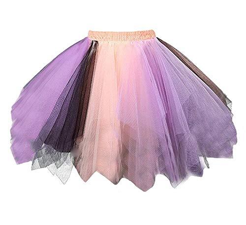 Womens Peach Lavender Black Plus Size Tutu Layered Tulle Petticoat