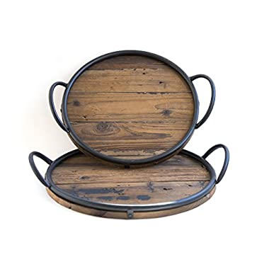 Rustic Round Wood Serving Tray Set of 2