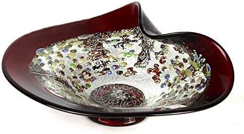 YourMurano - Plato de Cristal de Murano, Centro de Mesa de Cristal Multicolor, Fabricado en Italia, Cristal soplado, diseño Moderno, Hecho a Mano, Marca de Origen Garantizada, Boca