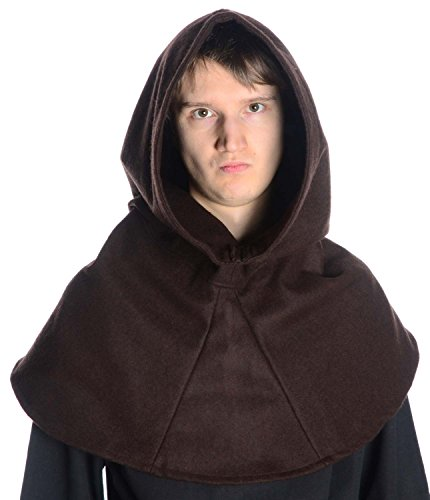 HEMAD Mittelalter Kapuze Schafwollfilz Mittelalterliche Kleidung braun