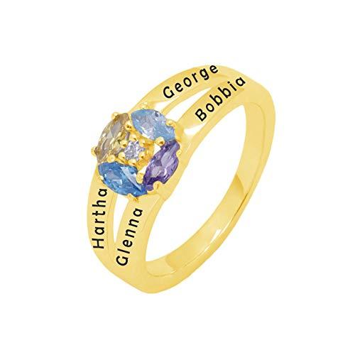 Personalización del anillo con nombre personalizado 4 anillos de piedra natal Anillo de plata esterlina 925 Navidad para abuela(Chapado en oro de 18 k 18)