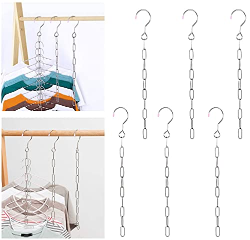 Closet Organizers and Storage Dorm Room Essentials Girls Bedroom Closet Organizer Hangers for Heavy Clothes Bulk Magic Hangers Space Saving Metal Hanger Chains for College Students, 6 Pack 10 Slots