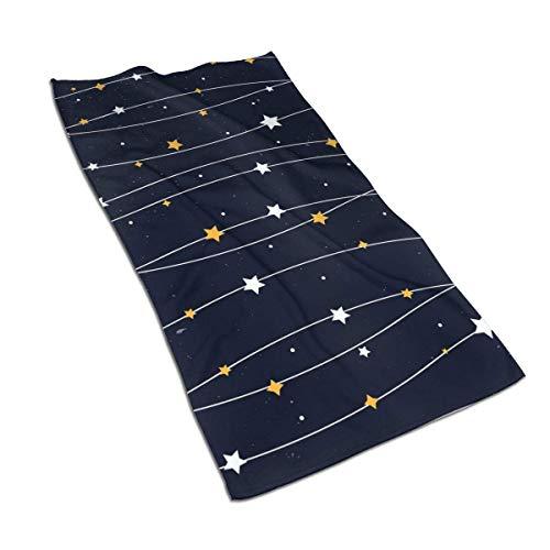 Tyueu Toallas de mano de cara azul oscuro patrón estrella altamente absorbente toalla de microfibra de secado rápido 27.5 pulgadas x 15.7 pulgadas