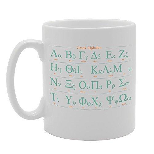 Keramiktasse mit griechischem Alphabet, Alphabet, 313 ml, einzigartige Sarkasmus-Tasse, Kaffeetasse, Geburtstagsgeschenke