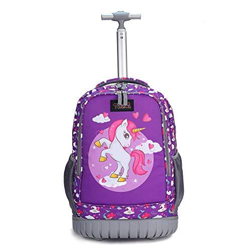 Tilami Rolling Backpack 19 inch Wheeled Cute LAPTOP Boys Girls Travel School Student Trip, Unicorn