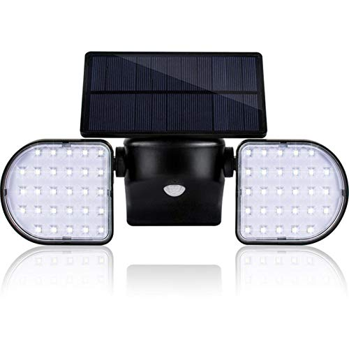 lxxiulirzeu Luces de jardín de Pared Solar al Aire Libre 56 Leds Luces de Sensor de Movimiento de Movimiento de Gran Angular Panel Solar Ajustable 2 Cabezas IP65 Luces de Seguridad Impermeables