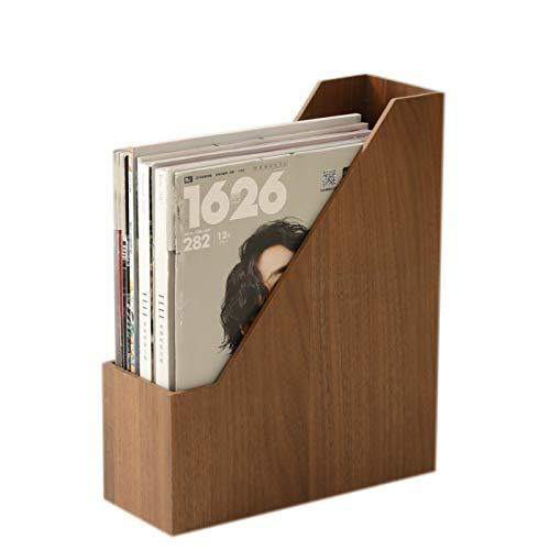 sunren 本 収納 ブックスタンド 本立て 木製 卓上収納 雑誌/新聞/書類入 オフィス 卓上本棚 デスク 小物入れ (ダークブラウン)
