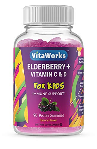 VitaWorks Sambucus Elderberry with Vitamin C and Vitamin D – for Kids – Great Tasting Natural Gummy Supplement – Gluten Free Vegetarian GMO-Free Chewable Vitamins – for Immune Support – 90 Gummies