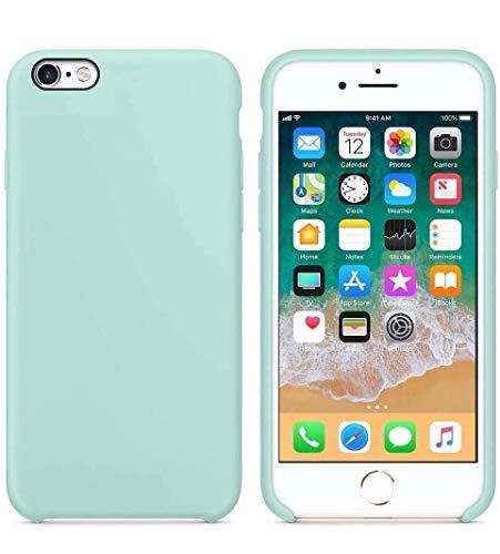 Funda de Silicona Silicone Case para iPhone 6 Plus, iPhone 6S Plus, Tacto Sedoso Suave, Carcasa Anti Golpes, Bumper, Forro de Microfibra… (Verde Mar)
