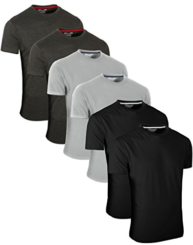 FULL TIME SPORTS 6 Pack Dunkelgraue Schwarze Rundhals Tech T-Shirts (7) Large