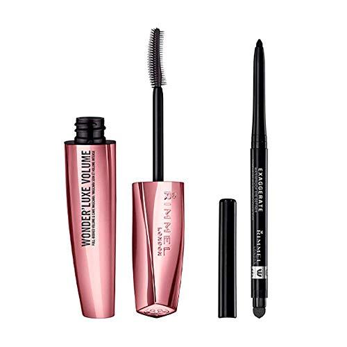 Rimmel London Look Ojos: Máscara Wonder'luxe Volume Tono 001 Black + Eyeliner...