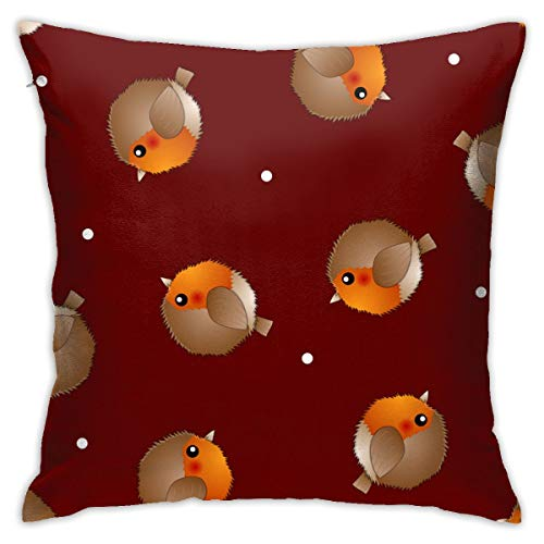 Doormats-shirt Garden Art Deco Pillow Case Red Robin Bird On Red Christmas Background Sofa floor cushion cover 18x18 inches