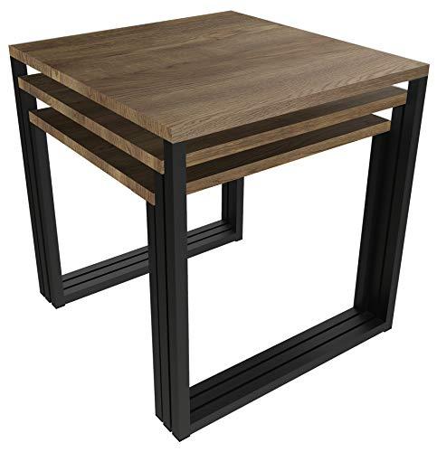NOVAMAT 3-in-1 salontafel Berg in loft-stijl tafel woonkamertafel van hout Elagant Design Edel eiken donker