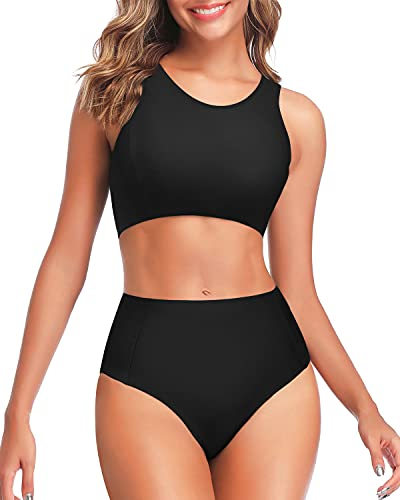 Tempt Me Women Black High Waisted Bikini Sporty Scoop Neck Tank Top Two Piece Swimsuits L
