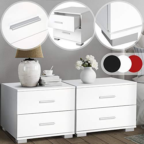 MIADOMODO Nachttisch 2er-Set - 40x40x35 cm, MDF, Griffe aus Metall, Zwei Schubladen, Farbwahl - Nachtschrank, Kommode Ablagetisch, Nachtkommode für Schlafzimmer, Wohnzimmer (Weiß)