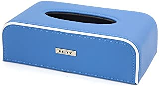 eDealMax Caso de la cubierta de la bandeja PU Azul Rectangular de Cuero Tejido cuadro Titular