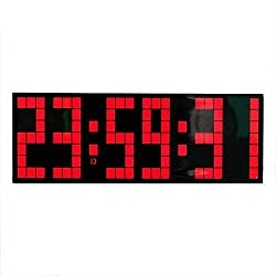 ZXY-NAN Desk Shelf Clocks LED Snooze Wall Desk Alarm Clock Multi Functional Remote Control Count Down Electronic Alarm Clocks (Color : Black, Size : 24X8.5X5.5CM) Home Decoration