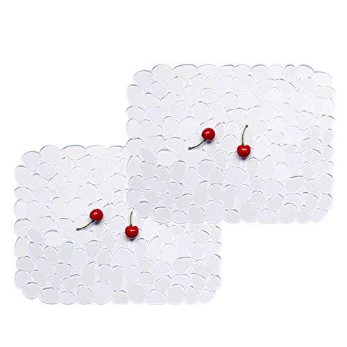 Spülbecken Matte ,Waschbecken Abtropfmatte, Küchenspüle Mat Protector PVC schützt Glas Pebble Klar 30 * 40 cm(2 Pack)
