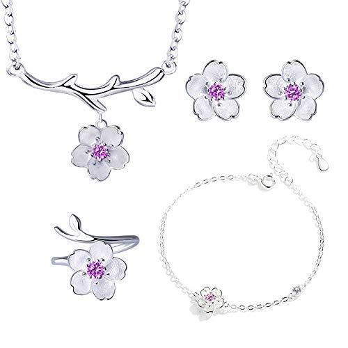 XKMY Joyería para mujer de plata de ley 925 conjuntos de joyas románticas flores de cerezo collar de flor+pendientes+anillo + pulsera para mujer (color metal: morado 4 piezas por juego)