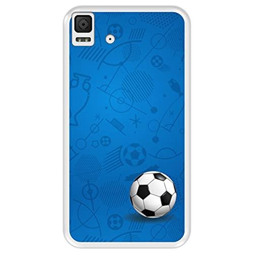 Hapdey Funda Transparente para [ Bq Aquaris E4.5 ] diseño [ Patrón Deportivo con Bola de Futbol ] Carcasa Silicona Flexible TPU
