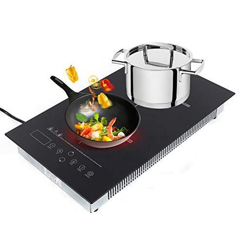Placa de inducción, doble placa de inducción, portátil, control táctil y placa de cristal, 1800 W + 1500 W, función de temporizador.