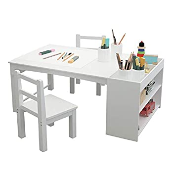 GDLF Kids Activity Table and Drawing Desk with Stools with Bookshelf Storage Playroom Kids Table and Chair Set Painting Desk Paper Roll