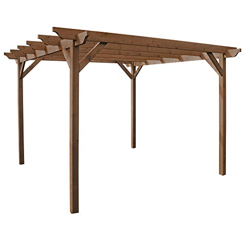 Wooden Garden Structure Pergola 3m x 3m - Rustic Brown - Sculpted Rafter