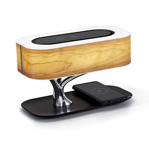 Masdio by Ampulla Bedside Lamp with Bluetooth Speaker and Wireless Charger, Table lamp Desk...