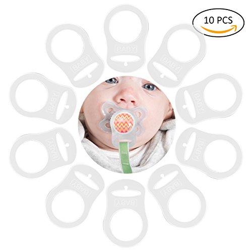 JZK 12 pcs Transparent silicone bouton anneau mannequin sucette titulaire clip adaptateur pour b/éb/é MAM sucette
