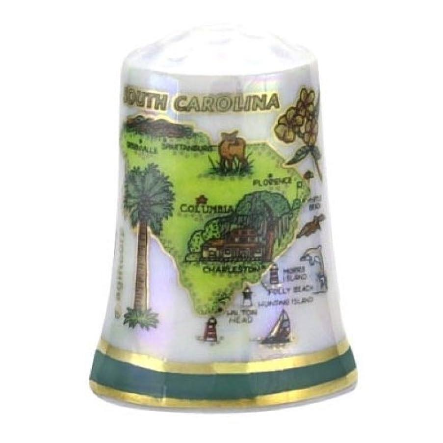 South Carolina State Map Pearl Souvenir Collectible Thimble agc
