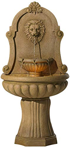 John Timberland Savanna Roman Outdoor Wall Water Fountain with Light LED 58' High Lion's Head 2 Tiered for Yard Garden Patio Deck Home