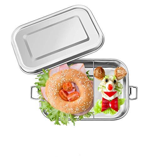 *Charminer Brotdose aus Edelstahl,Bento Box Metall Dichte Brotdose Lunchbox,Umweltfreundliche ohne Plastik&BPA,für auslaufsicher 800ML Fassungsvermögen mit Fächern zum Wandern/Reisen/Schule Kinder*