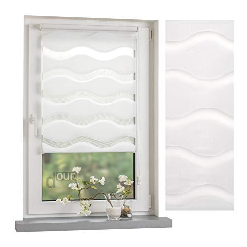 ourdeco® Doppel-Rollo, Duo-Rollo / 60 x 150 cm in Wellenform Wave weiß/lichtdurchlässig, Blickdicht/Klemmen=Montage ohne Bohren=Smartfix=Klemmfix=Easy-to-fix